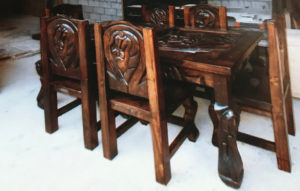 horseshoe dining room table and chairs
