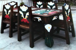 six piece peasant white flower dining table and chairs