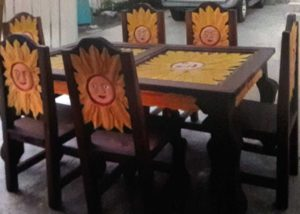 sun dining room table with six chairs