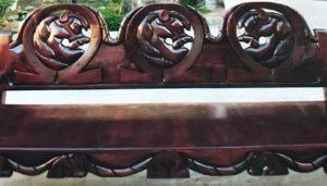 dark wood large bench horseshoe