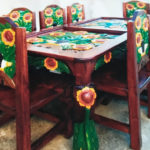 eight piece peasant sunflower dining room set