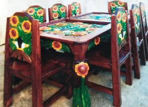 eight piece peasant sunflower dining room set