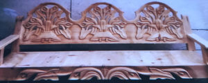 wood large bench peasant no color lilies